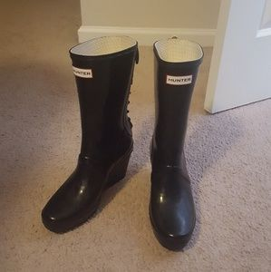 Hunter rain boots wedge lace up black 7